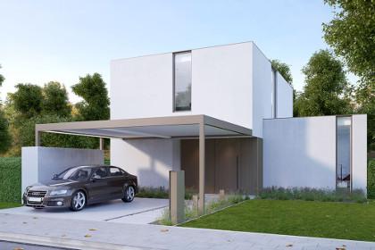 carport aluminium à toit plat renson algarve canvas